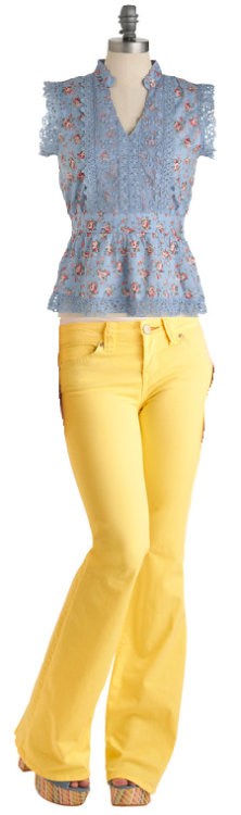 I just bought these amazingly cute pants from Modcloth…Made Hue Look Jeans. I want to pair a blue top with them because I love yellow x blue but I am not sure. Was thinking about the Rose Hip Hip Hooray Top….but IDK. Hmmm.