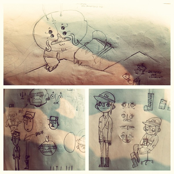 Some sketches for the new cartoon.  (Taken with instagram)