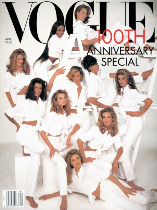 (via lovelyritablog.com) April 1992, just 20 years ago, US Vogue celebrates its 100th anniversary and through the lens of Patrick Demarchelier it displays an iconic cover full of the 'girls of the moment', the Supermodels, those beautiful creatures that ruled the world during the early nineties. All dressed in Gap whites, they were Claudia, Yasmeen, Niki, Elaine, Tatjana, Karen, Cindy and the almighty Trinity of Linda, Christy and Naomi.