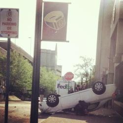 Car flipped over at Duquesne