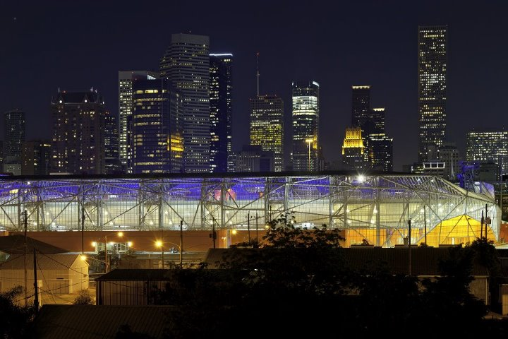 BBVA Compass Stadium at night.   Picture courtesy of The Houston Dynamo
