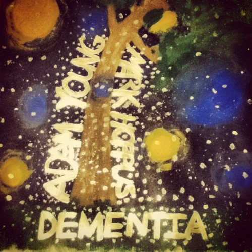 Adam Young and Mark Hoppus: Dementia. @owlcity #bored #becauseyoulosersdidntgivemepaintingideas #painting #paint #art #music #owlcity #owl #city #adamyoung #adam #young (Taken with instagram)