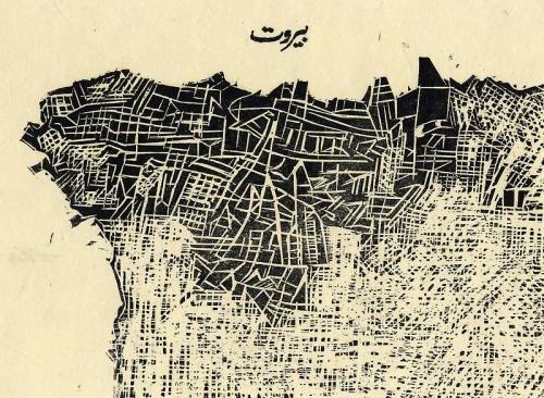 mondonoir:  Zarina Hashmi These Cities Blotted into the Wilderness, Beirut, 2003 Etching on handmade paper