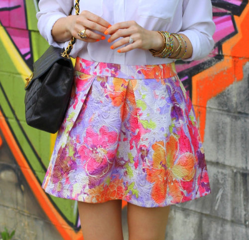 "what-do-i-wear:  ASOS Skirt, Amrita Singh Bangles, Chanel Bag, HRH Collection ""The Original Cuff"" Necklace, Nails: American Apparel Neon. (image: brooklynblonde)"
