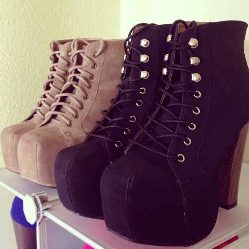 Left one is my Jeffrey Campbell Lita's in taupe suede and the right one is a Lita dupe in black. Super similar style as the JC ones!! Slight difference in the upper eyelets of the shoe where the laces go but I love em both!! I couldn't pass up a good deal, got em for $36 dollars on shiekh shoes.com.  (Taken with instagram)