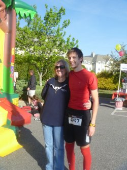My mom and I.  Ran a little bit in the short marathon today.