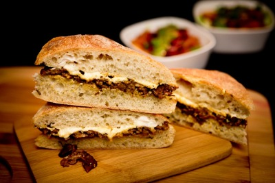 Cheesy Seitan & Mushroom Sandwich     (click image for recipe)