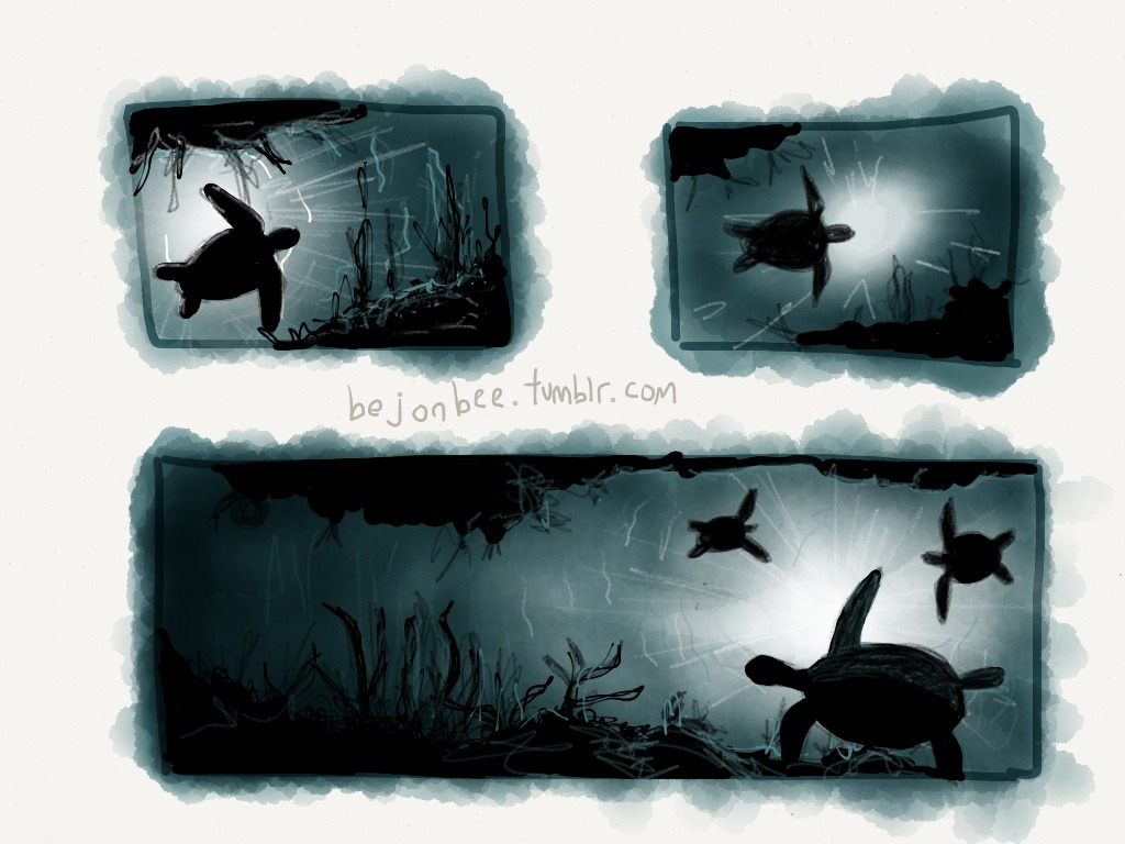 Turtles in the ocean.  These are rough sketches as I experiment with underwater scenery.  Made with Paper
