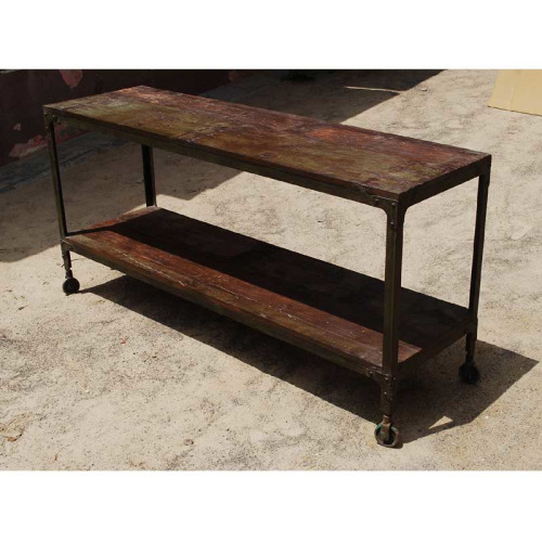 The Appalachian Rustic Industrial Wood & Rolling Table from the Industrial Collection on Pinterest.