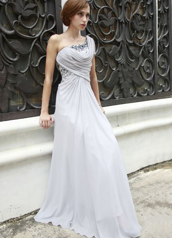 Popular Gray One Strap A line Bead Composite Filament Evening Dress from annanism.tumblr.com