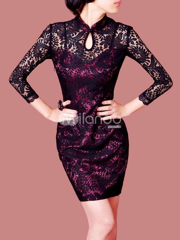 Black Layered Lace Stand Collar Long Sleeves Nylon Womens Party Dress from annanism.tumblr.com