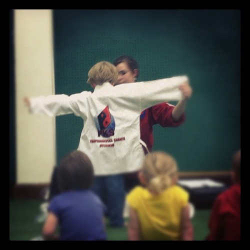 Munchkin getting sized for his Karate uniform! (Taken with instagram)