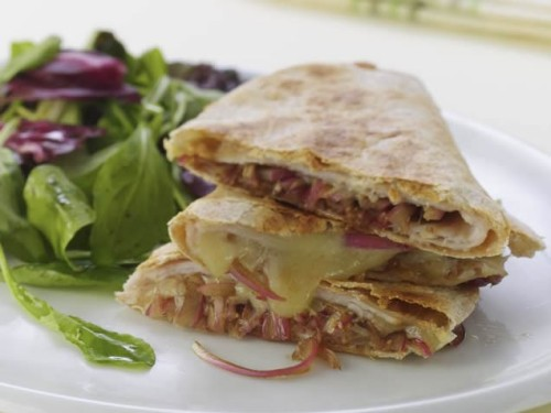 Turkey & Balsamic Onion QuesadillasNot your traditional quesadilla, these feature deli turkey and Cheddar cheese, along with onions quickly marinated in balsamic vinegar. Get the recipe!