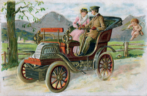 Vintage postcard of couple driving in the countryside