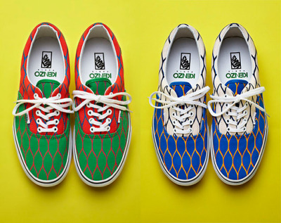 KENZO Era Vans  This summer the Italian Designer teams up with Surf Sneaker Vans with a bright take on this season's trend of soft pastels contrasted by bold colors. The patters are beachy, but strong, I'd wear the Blue and Cream any day.