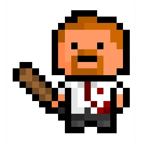 "pixelblock:  Shaun, the cricket bat wielding sales clerk portrayed by Simon Pegg in the thoroughly brilliant zomromcom ""Shaun of the Dead"", now rendered in an 18 x 19 pixel resolution. Requested by:http://novocaine-for-thesoul.tumblr.com/"