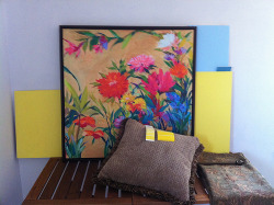 This is the painting with the paint swatches and the pillow (the color of The Big Comfy Chair of Doom), all before the paint sample went on the wall. This picture was taken in actual daylight instead of simulated daylight. You can see how the yellow tones down quite a bit.
