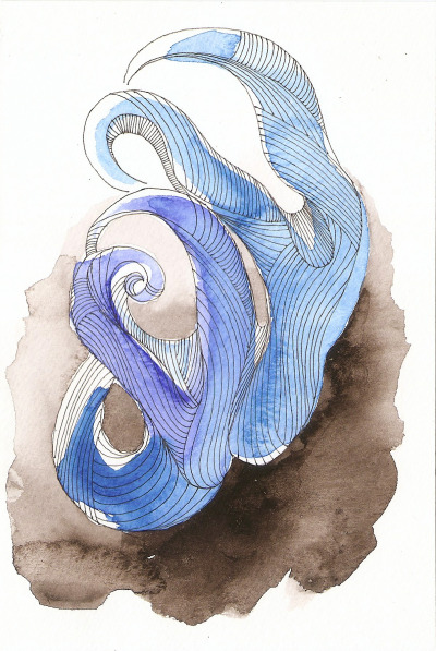 "so what-topus: watercolors, gel pen, squid ink : 6"" x 4"""