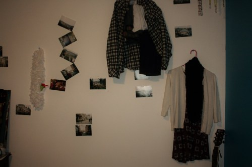 How I pick out my outfits recently: hanging choices on my wall.
