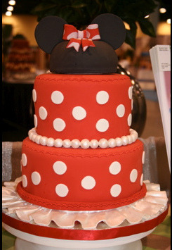 disneyweddinginspiration:  What's red, black and polka dotted all over? A Minnie Mouse inspired cake, of course! (Photo source: delectable-disney: Minnie Mouse Cake by Mighty Fine Cakes)