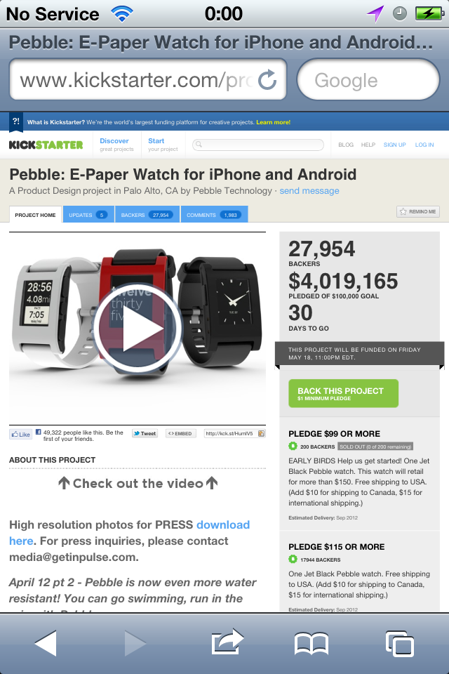 Pebble E-Paper Watch Surpasses $4 Million In Funding On KickStarter!