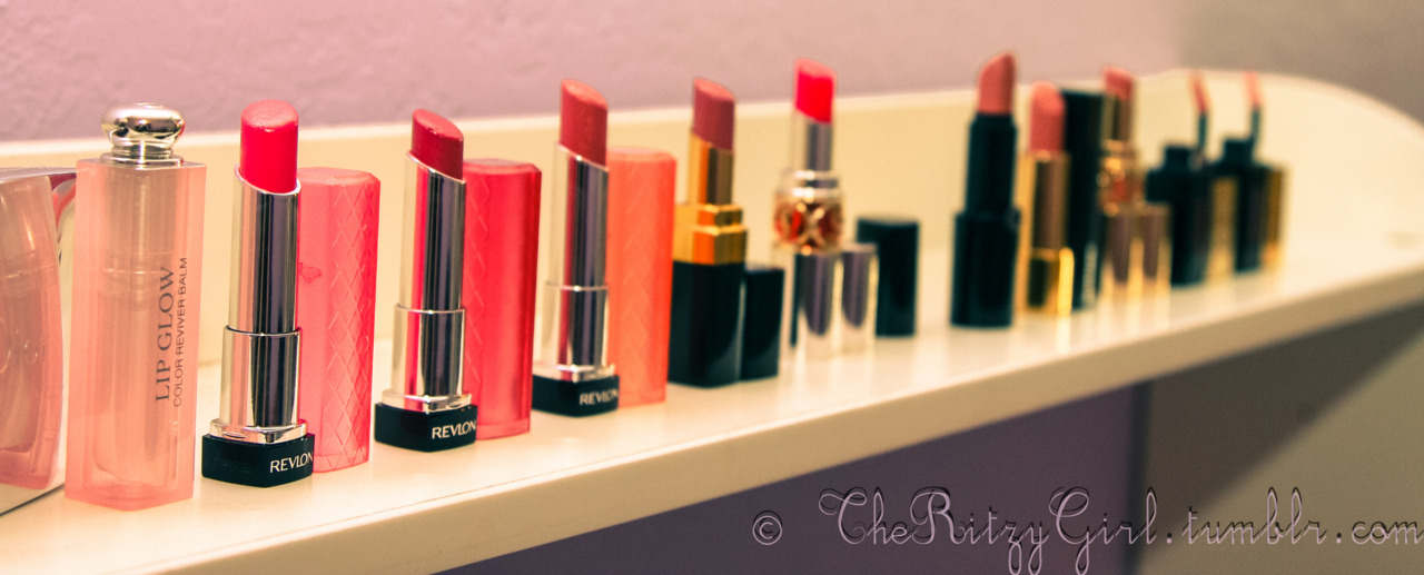 Favorite Spring Lip Products! Revlon Lip butters, chanel Rouge Coco Shine, YSL Rouge Volupte Sheer Candy Balm, Dior Lip Glow, Armani Lipstick, YSL Lipstains Taken by Lina @ theritzygirl.tumblr.com
