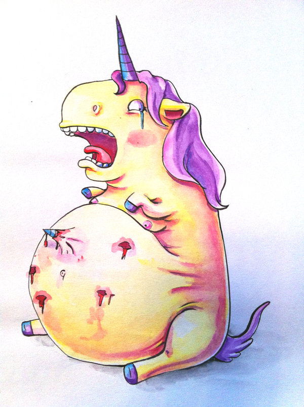 chuckhistory:  Yep… that must be a problem with unicorn pregnancy. Check out other work from artist behind it Kangel, on DeviantArt. I recommend buying your friend that loves unicorns a print of this for their birthday.   (via)
