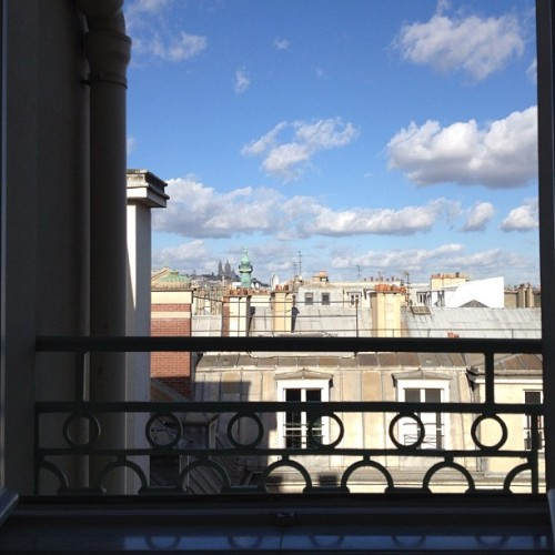 Bonjour Paris you look stunning from my bathtub. #romance #paris #france #views #lemeurice #luxury #rooftops #travel #hotels #windows #luxuryhotel #clouds #sky #instagood #iphoneography #hipstamatic #myview (Taken with instagram)