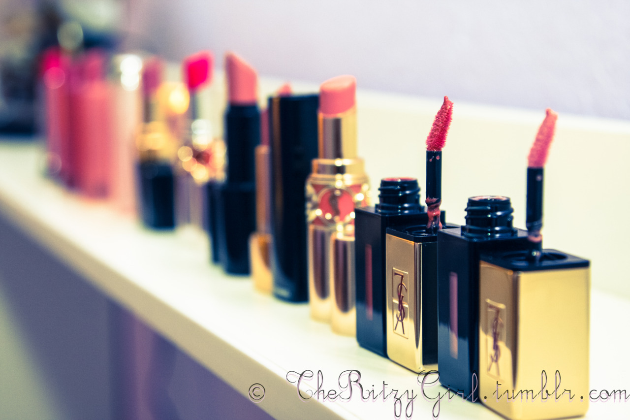 Favorite Spring Lip Products! A range of lip products from lip stains to balms.  Here are some of my favorites :] Revlon Lip butters, chanel Rouge Coco Shine, YSL Rouge Volupte Sheer Candy Balm, Dior Lip Glow, Armani Lipstick, YSL Lipstains Taken by Lina @ theritzygirl.tumblr.com