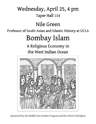 Nile Green, Professor of South Asian and Islamic History at UCLA, will be giving a lecture based on his recent, award-winning book, Bombay Islam, in Taper Hall 114 next Wednesday, April 25, at 4pm.
