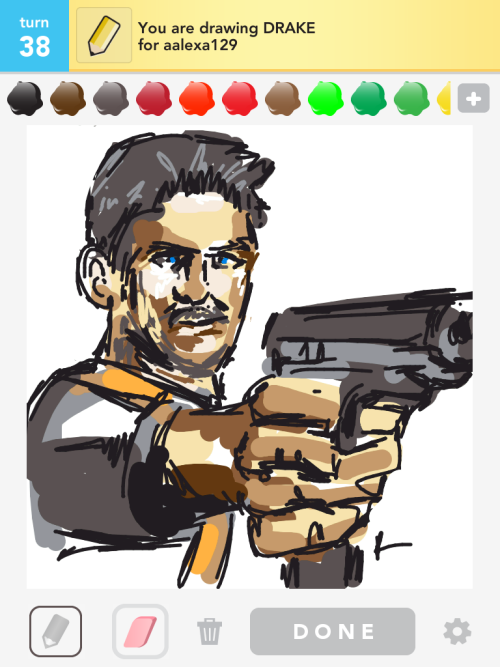 2nd Drake #DrawSomething Nathan #Drake from Uncharted (classic one) this time. I didn't run out of ink this time! :D this is for you, fuckyeahuncharted :)