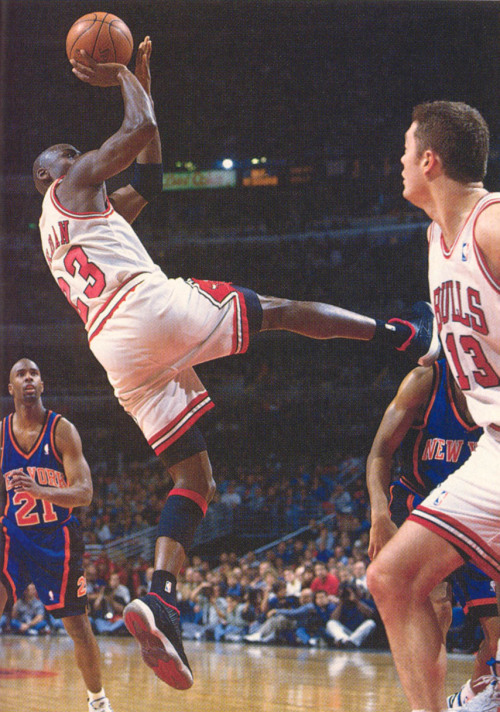 jstforkicks:  Wow. Never seen this pic. Jordan in the 1996 OG Low XI IE Bred's.