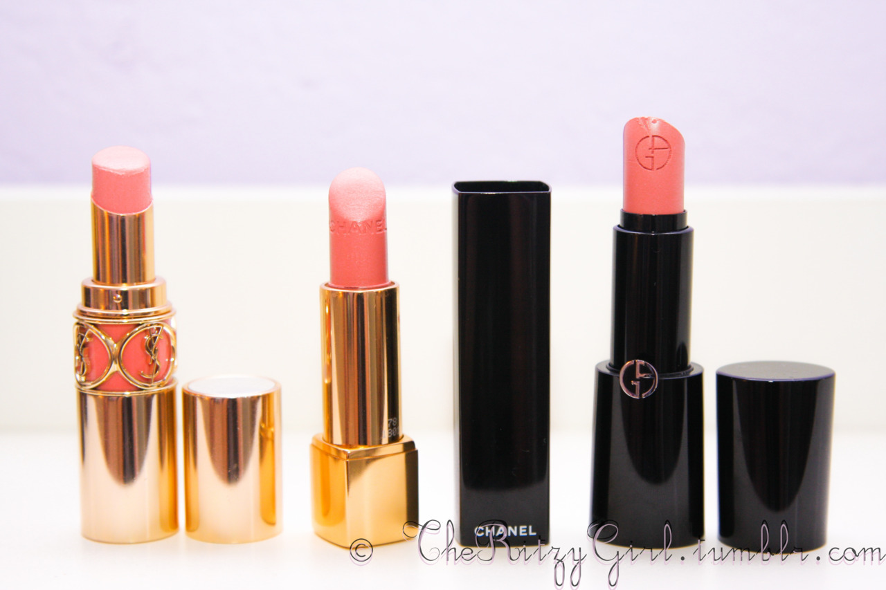 My favorite light weight, hydrating and creamy lipticks that are perfect for the Spring and Summer time The YSL Rouge Volupte is a perfect creamy coral peach tone, look marvelous with a tan. The Chanel Rouge Allure is a pretty corally pink, beautiful natural color! Armani lipstick is my all time favorite nude pinks! It's my go-to lipstick <3