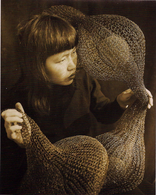 iamjapanese:  ericatanov:  ruth asawa holding a form-within-form sculpture 1952 photograph by imogen cunningham  More Ruth Asawa