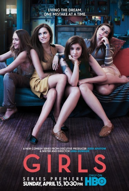 "thedependentclause:  Judging solely by the poster, Girls is about women afflicted with either terrible posture or a habit of chewing on their own body parts.  I liked the pilot of this show, but calling it ""Girls"" makes it seem like they're saying, ""hey everybody, there's this whole non-male gender you probably know nothing about, but here, for the first time, is a show that will tell you the truth about what they're all like!""  And it doesn't help that this poster makes all four of them look exactly the same."
