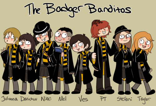 Now presenting the Badger Banditos! We're an open group of Hufflepuffs dedicated to helping others and upholding all that the house stands for! Members from left to right Julianna, Danichuu, Nikki, Mel, Me, PT, Stefani, and Taylor PUFF PRIDE!!!