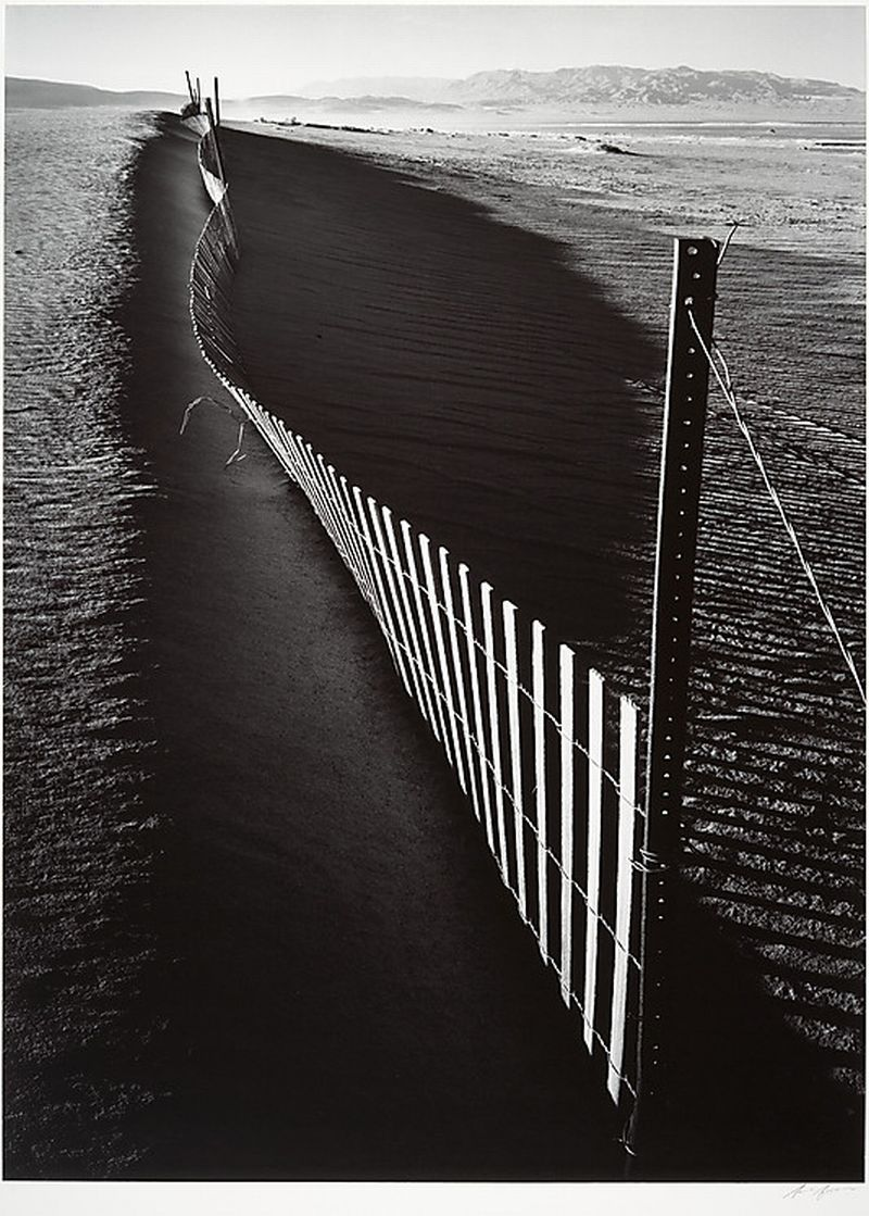 Ansel Easton Adams, Sand Fence, Keeler, California. ca. 1948, printed 1974. Gelatin silver print. Thank you, yama-bato.