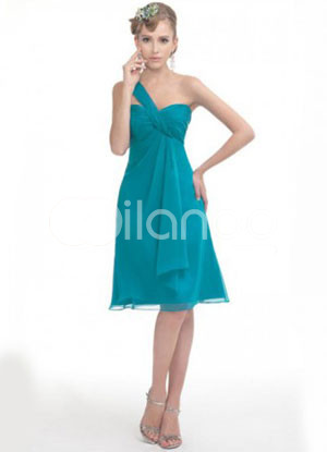 Light Blue One-Shoulder A-line Flower Chiffon Prom Dress :  light blue flower chiffon aline