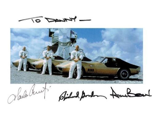 Autographed pic of the Apollo XII crew and their completely bitchin' 427 Big Block '69 Astrovettes. Yet another reason why Alan Bean is the coolest astronaut of all time, and Apollo XII had STYLE.