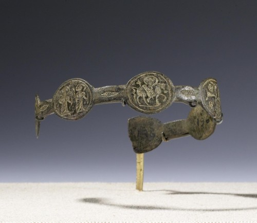"omgthatartifact:  Amuletic Armband with Holy Rider, Saints, and Magical Symbols Byzantine, 6th-7th Century AD The Walters Art Museum ""Originally made up of seven inscribed medallions, this armband demonstrates the intermixing of Christian, Jewish, and pagan imagery on an object of magical, medicinal purpose. Judging by the inscriptions, most armbands (made in Byzantine Syria and Egypt) were used to treat abdominal disorders."""