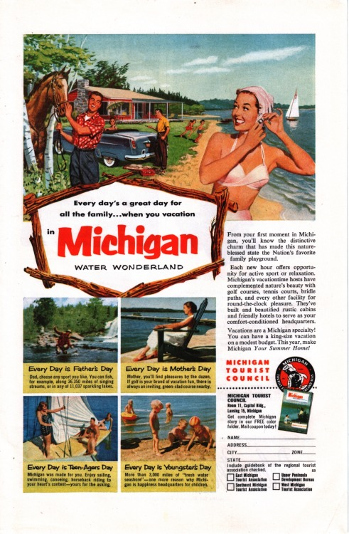 oldfishingphotos:  Michigan Tourist Council, 1953Source: vintagenational