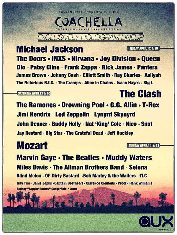 Laughing Our Asses Off Coachella's Exclusive Hologram Line up