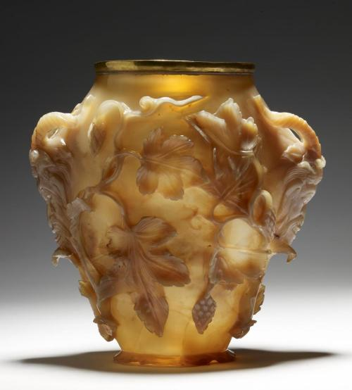 "omgthatartifact:  The Rubens Vase Byzantine, 400 AD The Walters Art Museum ""Carved in high relief from a single piece of agate, this extraordinary vase was most likely created in an imperial workshop for a Byzantine emperor. It made its way to France, probably carried off as treasure after the sack of Constantinople in 1204 during the Fourth Crusade, where it passed through the hands of some of the most renowned collectors of western Europe, including the Dukes of Anjou and King Charles V of France. In 1619, the vase was purchased by the great Flemish painter Peter Paul Rubens (1577-1640). A drawing that he made of it is now in Saint Petersburg, State Hermitage Museum, inv. 5430. The subsequent fate of the vase before the 19th century is obscure. The gold mount around its rim is struck with a French gold-standard mark used in 1809-1819 and with the guarantee stamp of the French departement of Ain. A similar late Roman agate vessel, the ""Waddesdon Vase"" or ""Cellini Vase,"" in now in the British Museum, London."""