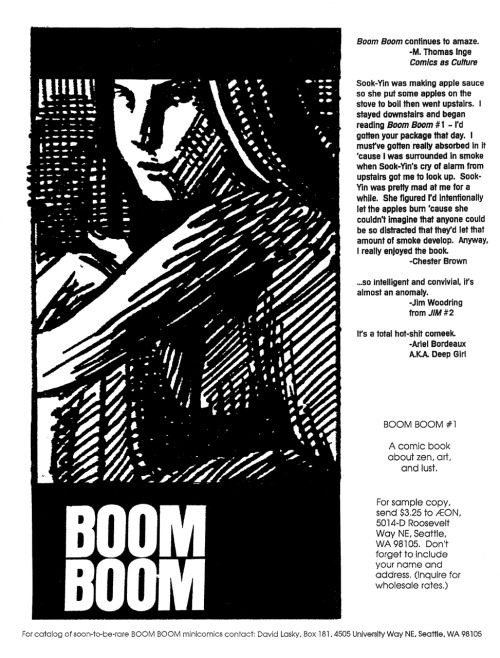 Promotional ad for Boom Boom #1 by David Lasky, 1994.