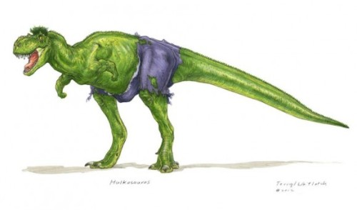 ianbrooks:  The Dino-vengers by Teryll Whitlatch Dinosaurs make anything better. It's one of the simplest scientific facts I know, but combine them with something already as cool as spandexed superheroes and you have a fast-approaching meteor of awesome threatening to destroy us all. Good thing we have the Dino Avengers to protect us! (though I guess it didnt work out so well the last time…)  Artist: website (via: tor / themarysue)
