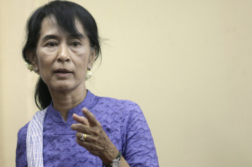 "aljazeera:  Suu Kyi set for first trip abroad in 24 years Myanmar's Nobel Peace Prize laureate and pro-democracy leader, Aung San Suu Kyi, is set to travel outside the country for the first time in 24 years. The party of the newly elected member of parliament said on Wednesday that Suu Kyi had accepted invitations to visit Norway and Britain in June. Officials in Myanmar told the AFP news agency that Suu Kyi had applied to travel but had not yet been granted a passport. Suu Kyi was invited to visit Britain during a meeting with David Cameron, the British prime minister, in Yangon last week. ""Two years ago I would have said thank you for the invitation, but sorry,"" she said of Friday's offer by the British leader. The fact that she would consider the offer, rather than reject it outright, showed ""great progress"" had been achieved in Myanmar she said.    AUNG SAN SUU KYI FOR PRESIDENT OF THE WORLD"