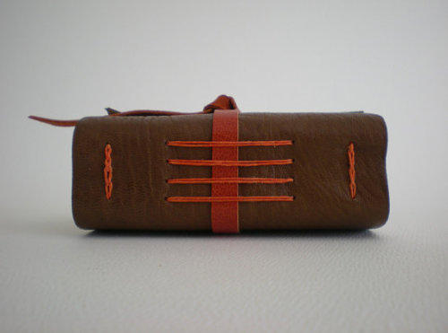Earthy Little Leather Journal / Notebook - Medieval binding - Brown & Orange - Tactile, Luxurious, Warm Made by Susan Green and for sale in her Etsy shop.
