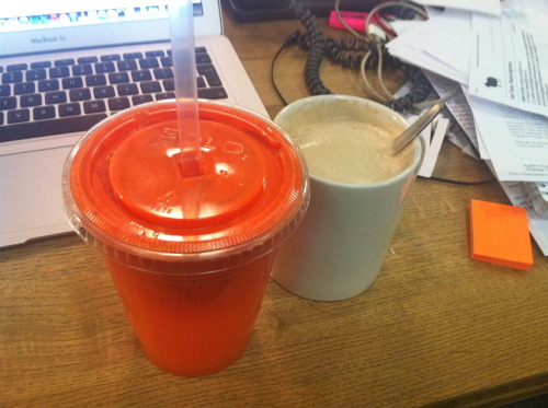 Liquid breakfast at work. Soy latte (from BBH coffee bar) and Ginger, Carrot and Orange juice from Pure.
