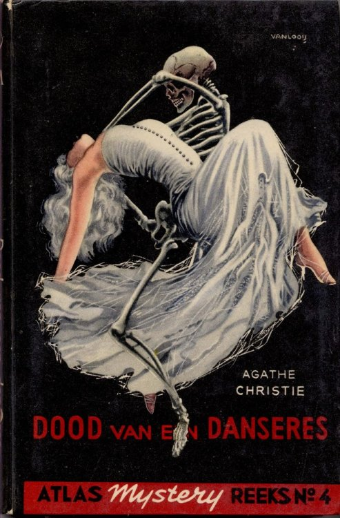 Cover art for The Body in the Library (Dutch edition) by Agatha Christie, by Rein van Looy, (1910-1994) : morbidanatomy.blogspot.com