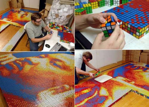 dashperiod:  Rubik's Cube picture art! This is just incredible!  Cubed This dude must get behind on his emails.